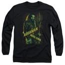 Justice League Movie Long Sleeve Shirt Aquaman Black Tee T-Shirt