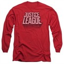 Justice League Movie Long Sleeve Shirt Distressed Logo Red Tee T-Shirt