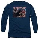Justice League Movie Long Sleeve Shirt Rally Navy Tee T-Shirt