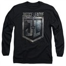 Justice League Movie Long Sleeve Shirt Shield Logo Black Tee T-Shirt
