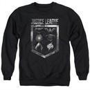 Justice League Movie Shield of Emblems Adult Black Sweatshirt