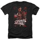 Justice League Movie Shirt Cyborg Profile Heather Black T-Shirt