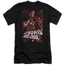 Justice League Movie Slim Fit Shirt Cyborg Profile Black T-Shirt
