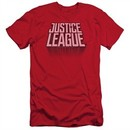 Justice League Movie Slim Fit Shirt Distressed Logo Red T-Shirt