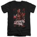 Justice League Movie Slim Fit V-Neck Cyborg Profile Black T-Shirt
