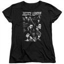 Justice League Movie Womens Shirt Pushing Forward Black T-Shirt