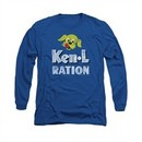 Ken L Ration Shirt Distressed Logo Long Sleeve Royal Blue Tee T-Shirt