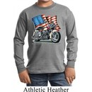 Kids Biker Shirt Motorcycle Flag Sleeve Tee T-Shirt