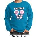 Kids Breast Cancer Awareness Sweatshirt Protect 2nd Base Sweat Shirt