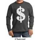 Kids Funny Shirt Distressed Dollar Sign Long Sleeve Tee T-Shirt