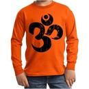 Kids Yoga Shirt Black Distressed OM Long Sleeve Tee T-Shirt