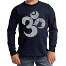 Kids Yoga Shirt Grey Distressed OM Long Sleeve Tee T-Shirt