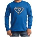 Kids Yoga Shirt Super OM Youth Long Sleeve Shirt