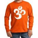 Kids Yoga Shirt White Distressed OM Long Sleeve Tee T-Shirt
