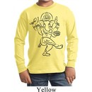 Kids Yoga Tee Black Sketch Ganesha Youth Long Sleeve