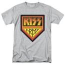 Kiss Shirt Rock Band Army Logo Adult Grey Tee T-Shirt