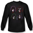 Kiss Shirt Rock Band Solo Heads Long Sleeve Black Tee T-Shirt