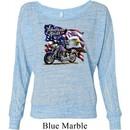 Ladies Biker Shirt American Pride Motorcycle Off Shoulder Tee T-Shirt