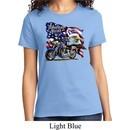 Ladies Biker Shirt American Pride Motorcycle Tee T-Shirt