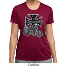 Ladies Biker Shirt Chopper Cross Skeleton Moisture Wicking Tee T-Shirt