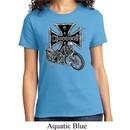 Ladies Biker Shirt Chopper Cross Skeleton Tee T-Shirt