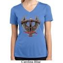Ladies Biker Shirt Prayer Warrior Moisture Wicking V-neck Tee T-Shirt