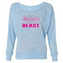 Ladies Fitness Shirt Every Beauty Needs a Beast Off Shoulder Tee