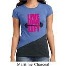 Ladies Fitness Shirt Live Love Lift Tri Blend Crewneck Tee T-Shirt