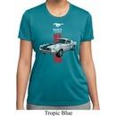 Ladies Ford Shirt Red Stripe Mustang 50 Years Moisture Wicking Tee