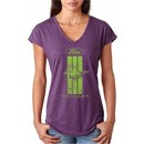 Ladies Ford Tee Green Mustang Stripe Tri Blend V-neck
