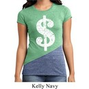 Ladies Funny Shirt Distressed Dollar Sign Tri Blend Crewneck T-Shirt