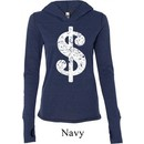 Ladies Funny Shirt Distressed Dollar Sign Tri Blend Hoodie Tee T-Shirt