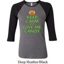 Ladies Halloween Shirt Keep Calm and Give Me Candy Raglan Tee T-Shirt