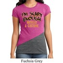 Ladies Halloween Shirt Scary Enough Tri Blend Crewneck Tee T-Shirt