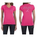 Ladies Shirt Pink Ribbon Real Men Front & Back Print V-neck Tee T-Shirt