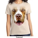 Ladies Pit Bull Shirt Big Pit Bull Face Tee T-Shirt