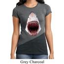 Ladies Shark Shirt 3D Shark Tri Blend Crewneck Tee T-Shirt