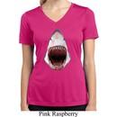 Ladies Shirt 3D Shark Moisture Wicking V-neck Tee T-Shirt