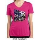 Ladies Shirt American Pride Motorcycle Moisture Wicking V-neck Tee