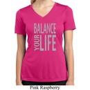 Ladies Shirt Balance Your Life Moisture Wicking V-neck Tee T-Shirt