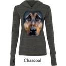 Ladies Shirt Big German Shepherd Face Tri Blend Hoodie Tee T-Shirt