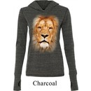Ladies Shirt Big Lion Face Tri Blend Hoodie Tee T-Shirt
