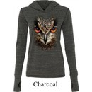 Ladies Shirt Big Owl Face Tri Blend Hoodie Tee T-Shirt