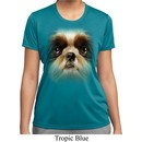 Ladies Shirt Big Shih Tzu Face Moisture Wicking Tee T-Shirt