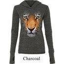 Ladies Shirt Big Tiger Face Tri Blend Hoodie Tee T-Shirt