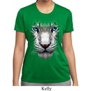 Ladies Shirt Big White Tiger Face Moisture Wicking Tee T-Shirt