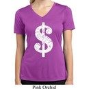 Ladies Shirt Distressed Dollar Sign Moisture Wicking V-neck T-Shirt