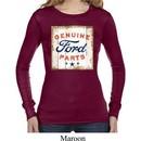 Ladies Shirt Distressed Genuine Ford Parts Long Sleeve Thermal Tee