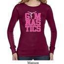 Ladies Shirt Gymnastics Text Long Sleeve Thermal Tee T-Shirt