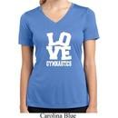 Ladies Shirt Love Gymnastics Moisture Wicking V-neck Tee T-Shirt